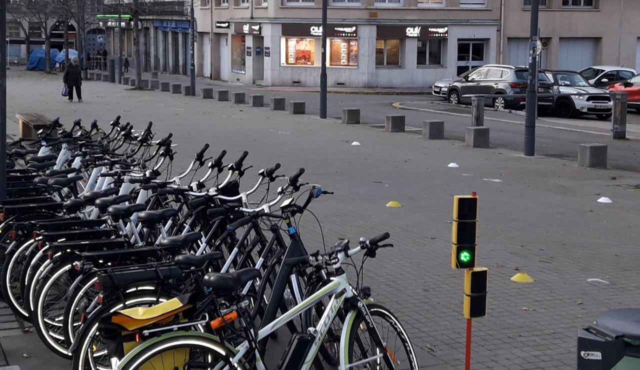 Rangée de vélos avec atelier prévention sécurité routière